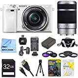 Sony a6000 ILCE6000LW ILCE-6000L/W ILCE6000 Alpha a6000 24.3 Interchangeable Lens Camera with 16-50mm Power Zoom Lens BUNDLE with SEL 55-210 (White), Sony 32GB Class 10 Card, Spare Battery, Deluxe Digpro Case, DVD SLR Guide, SD Reader, Beachcamera Cloth