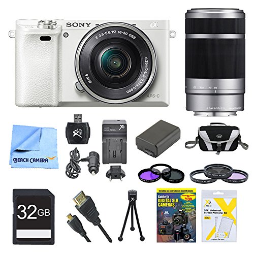 - Sony a6000 ILCE6000LW ILCE-6000L/W ILCE6000 Alpha a6000 24.3 Interchangeable Lens Camera with 16-50mm Power Zoom Lens BUNDLE with SEL 55-210 (White), Sony 32GB Class 10 Card, Spare Battery, Deluxe Digpro Case, DVD SLR Guide, SD Reader, Beachcamera Cloth