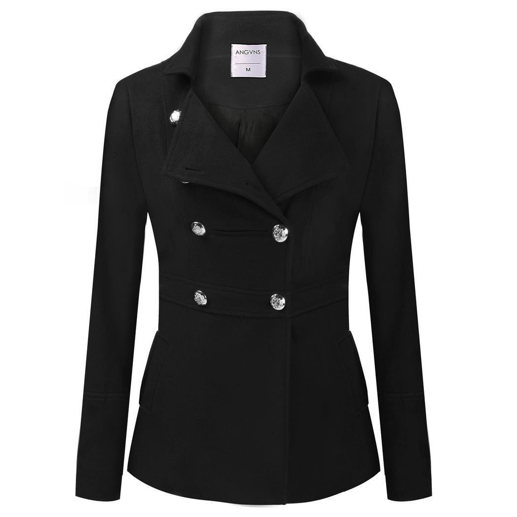 HAPLICA Classical Double-Breasted Peacoat Solid Wool Blend Coat Warm Outerwear Overcoat for Women