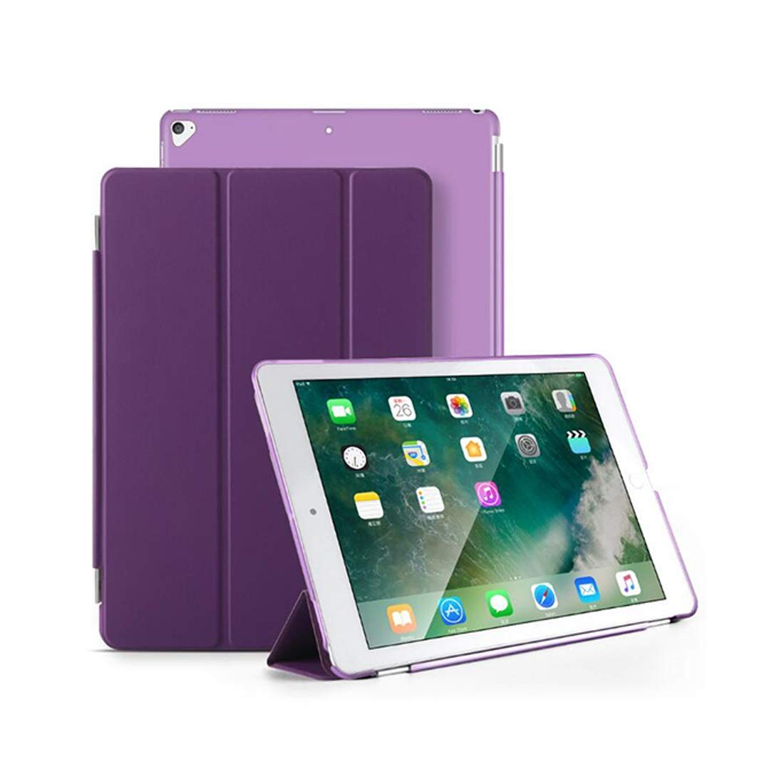 MATCHANT ケース Apple iPad Pro 12.9対応 - スリム軽量スマートシェルスタンドカバー 半透明つや消しバックプロテクター付き Apple iPad Pro 12.9インチ 2017 & 2015タブレット対応 パープル MATCHANT  パープル B07LD81J8W