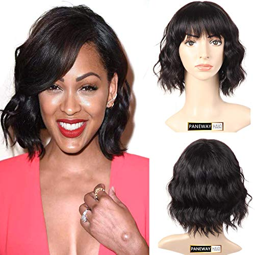 PANEWAY Human Hair Body Wave Wigs with Flat Bangs Brazilian Short Wavy Bob Wigs with full bangs Virgin Human Hair Wig for Black and White Women 130% Density Natural Color (10inch) ()