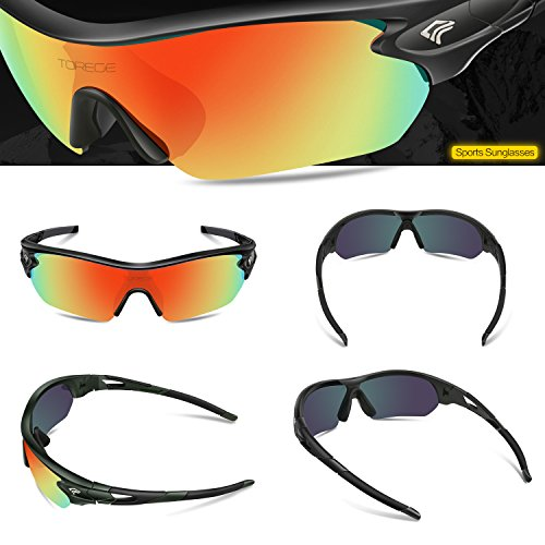 91b88d026eb TOREGE Polarized Sports Sunglasses with 5 Interchangeable Lenes for Men  Women Cycling Running Driving Fishing Golf