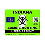 Zombie Indiana State Hunting Permit Sticker Self Adhesive Vinyl Decal IN