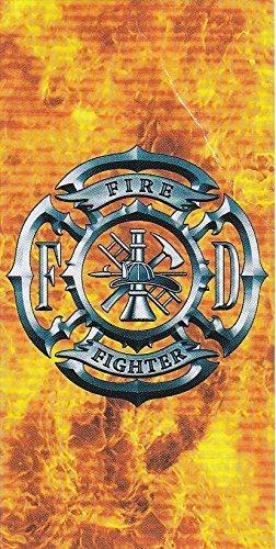 (Fire Fighter Fireman Flames Shield Beach Towel)