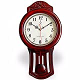 CGGGHY 12-Inch Solid Wood Living Room Wall Clock Antique Wall Clock American Minimalist Mute Bedroom Creative Personality Mute Quartz Clock For Sale
