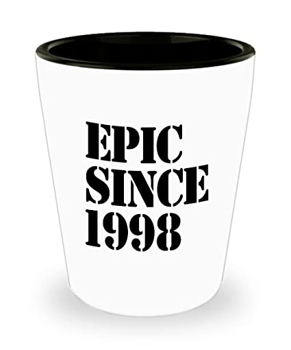 1998 Gift Idea For 20th Birthday Shot Glass Unique