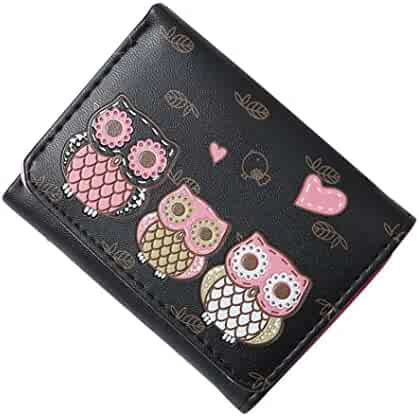 Wobuoke Girls Simple Retro Owl Printing Short Cute Trifold Wallet Coin  Purse Card Holders Clearance fc2e25df95dc6