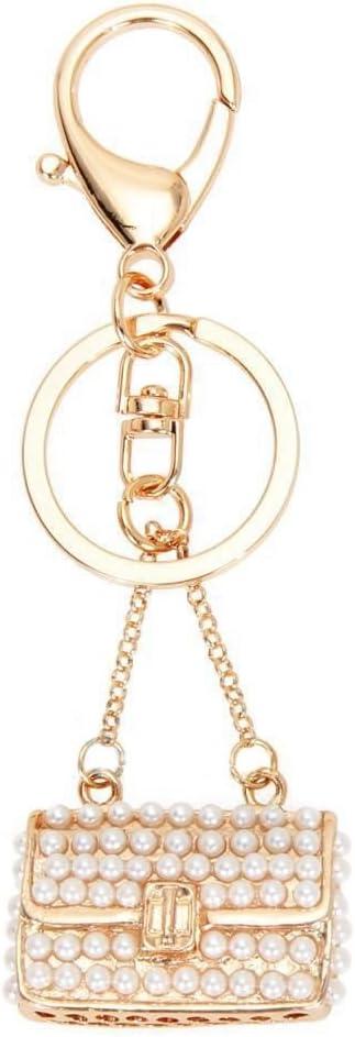SNOWINSPRING Porte-cles en Strass Cristal a Sac a Main Porte-cles Porte-clefs Chaine de cle Pendentif de Perle de Charme pour Sac