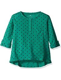 Girls' Three-Quarter Sleeve Dot Tunic with Pocket