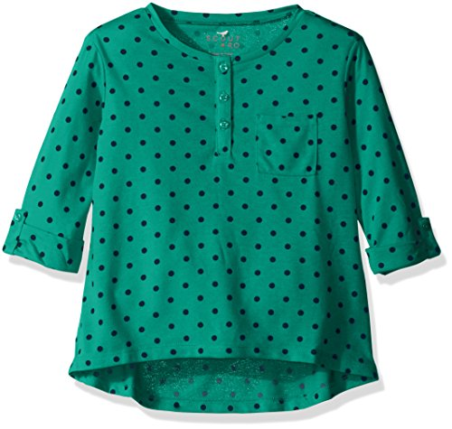 Scout + Ro Big Girls' Three-Quarter Sleeve Dot Tunic with Pocket, Pool Green, 7