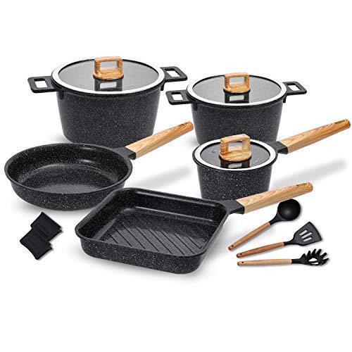 Ceramic Cookware Set Non-Stick Dishwasher Safe Scratch Resistant 100% PFOA Free...