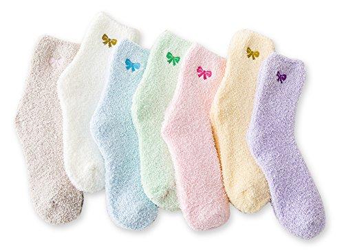 Women's Cozy Slipper Socks Fuzzy Sock 7 Pairs(7 Pairs Bowknot,4.5-8.5(Women Shoe))