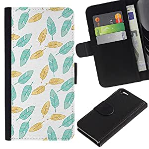 Paccase / Billetera de Cuero Caso del tirón Titular de la tarjeta Carcasa Funda para - Painted Teal Wallpaper Green - Apple Iphone 6 4.7
