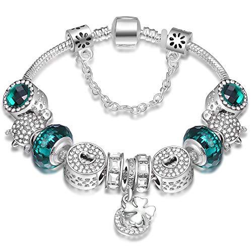 ATE Charm Bracelet for Women Crystal Glass Beads Lucky Clover (Green)
