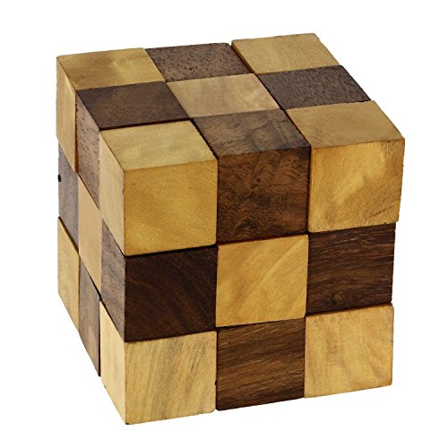 Indian Glance Snake Cube: Handmade & Organic Serpent Cube 3D Brain Teaser Wooden Puzzle for Kids | Boys | Girls | Adults