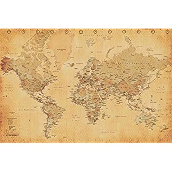 Amazon.com: Old World Map Poster 36 x 24in: Office Products on