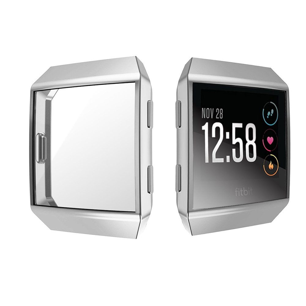 [2-PACK] Fitbit Ionic Screen Protector Case, UBOLE Scratch-resistant Flexible Lightweight Plated TPU FullBody Protective Case for Fitbit Ionic Smart Watch (CLEAR+SILVER) by UBOLE (Image #2)