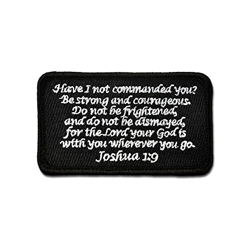 (Bastion Tactical Combat Badge Military Hook and Loop Badge Embroidered Morale Patch - Joshua 1:9 (Black))