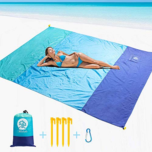 (Large Beach Blanket Sand Free Picnic Mat Waterproof, Sandless Washable 9x7 ft Fast Dry, with Wind Proof Anchors & Zippered Pocket, Foldable Travel Accessories for Camping, Hiking, Music Festivals)