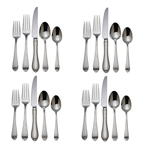 Reed & Barton Hammered Antique 18/10 Stainless Steel - 20 Piece Set (Service for Four) -