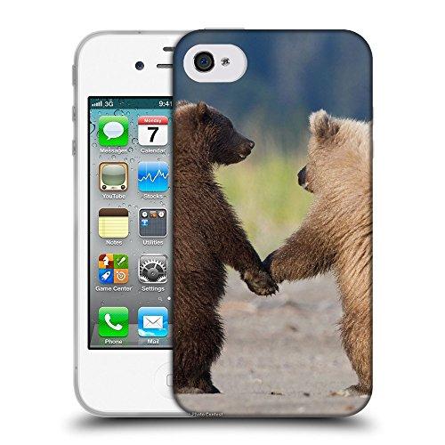Just Phone Cases Coque de Protection TPU Silicone Case pour // V00004119 Oursons à pied et de tenir les pattes // Apple iPhone 4 4S 4G