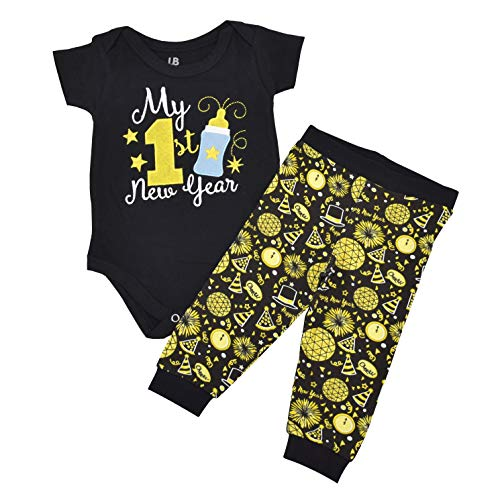 Unique Baby Unisex My 1st New Years Baby Outfit Layette Set (3 Months)