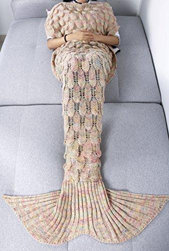 iEFiEL Teens Adult Knitted Mermaid Tail Blanket Couch Sleeping Bag (Adult (Ariel Costumes For Teens)