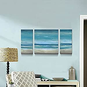 Blue Seascape Ocean Canvas Prints Embellishment Landscape Pictures Paintings Canvas Wall Art Sea Beach 3 Panels Pictures Artwork Home Decor,Stretched- Ready to Hang!