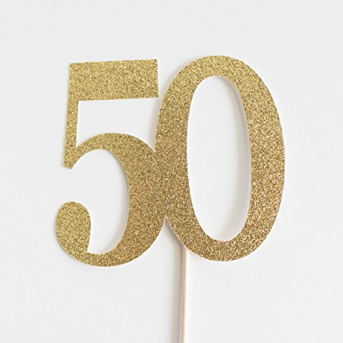 Gold Glitter 50 Cake Topper, 50th Wedding Anniversary, Fiftieth Birthday, Fifty (Anniversary Glitter)