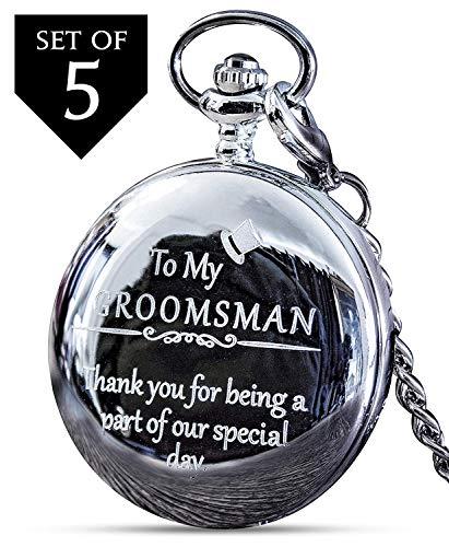 Groomsmen Gifts for Wedding or Proposal - Engraved Groomsman Pocket Watch - 5 Set - Luxury Wedding Gift