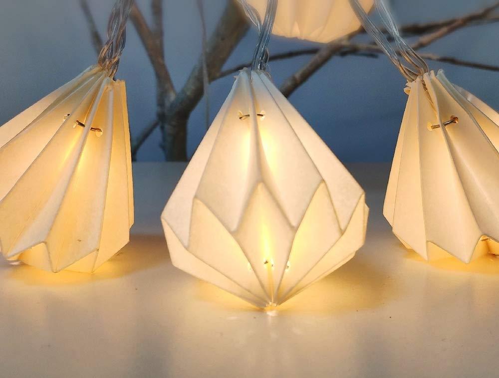 Guirlande Lumineuse pour Intérieur Nomade I 12 Origamis Papiers Blanc en Forme de Diamant LED Blanc Chaud I 3m de Long I Alimentation USB I Deco Chambre Maison Salon - ELUME