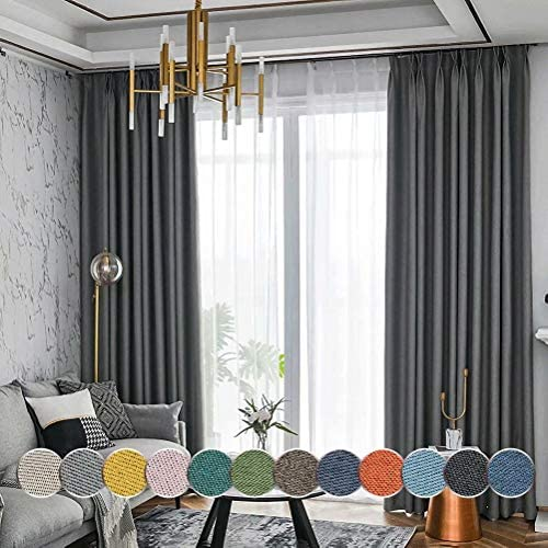 MacoHome Smokey Grey Double Sided Linen Full Blackout Curtain Lined Privacy Light Blocking Window Panels Grommet Top