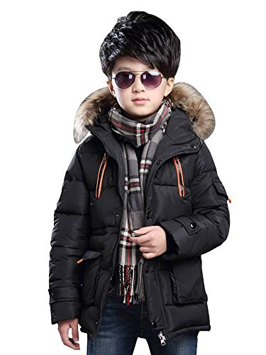 Big Boy's Winter Cotton Hooded Parka Outwear Coat with Faux Fur Trim Black Tag 130-51''(6-7Y) by OCHENTA (Image #1)