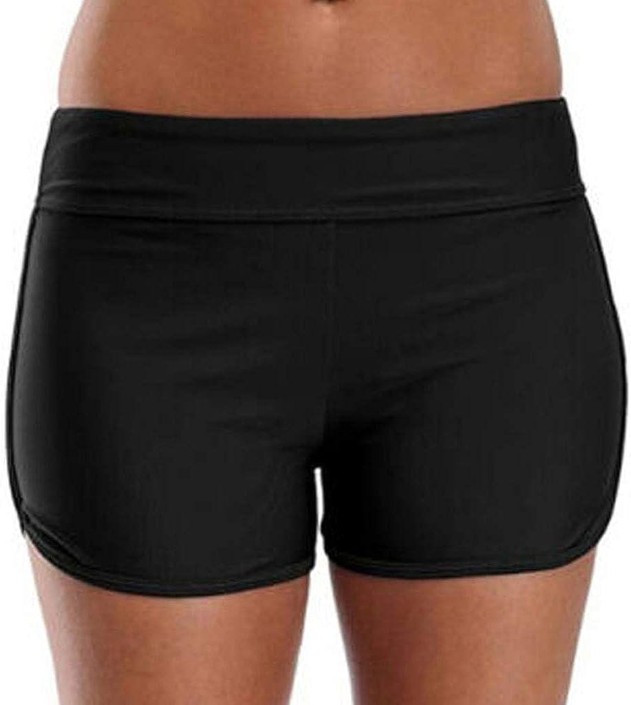 Dainzusyful Womens Sporty Swim Shorts Solid Board Shorts Tummy Control Beach Swimsuit Bottoms for Women