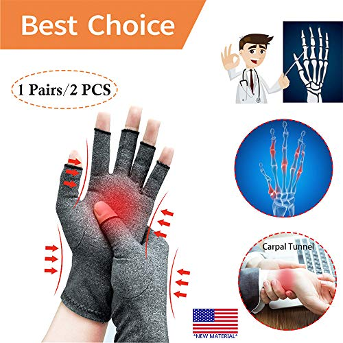 Arthritis Gloves *New Material* Compression for Arthritis Pain Relief Rheumatoid Osteoarthritis and Carpal Tunnel, Premium Compression & Fingerless Gloves for Computer Typing and Daily Work(Size L)