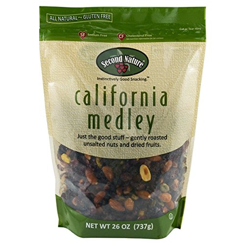 Second Nature California Medley All Natural Trail Mix, 26oz. Roasted Almonds, Pistachios, Raisins, and Dried Cranberries. Sodium-Free. Resealable Bag for Freshness.