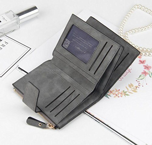 Diyafas Vintage Portemonnaie Damen Kurze Brieftasche Geldbörse mit Reißverschluss Münztasche Geld Organisator Kartenhalter Schwarz