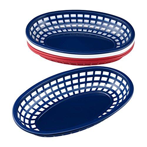 Gourmet Art 6-Piece Patriotic Oval Polypropylene Burger Baskets, White/Red/Blue, Great for Fast Food Restaurant Supplies, Bread Baskets, Chicken, Burgers, Sandwiches & Fries