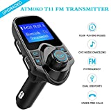 Bluetooth FM Transmitter, Atmoko Wireless FM Transmitter for Car, Radio Adapter W/ 1.44 Inch Display USB Car Charger Support AUX Input/Output TF Card Micro SD Card for Music Play and Hand-Free Calling