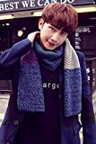 [S] Korean version of the new men's autumn and winter scarves mixed colors students long section of wool scarves scarf