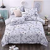 zhENfu Bedtoppings Comforter Duvet Quilt Cover 4pcs Set Queen Size Flat Sheet Pillowcase Grey Flower Prints Microfiber,Queen