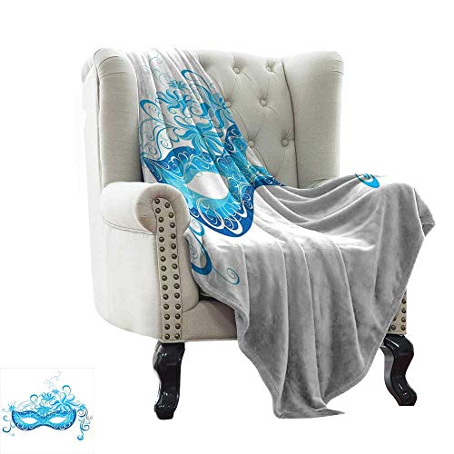 LsWOW Flannel Throw Blanket Masquerade,Venetian Style Mask Majestic Impersonating Enjoying Halloween Night Theme,Blue and Sky Blue Soft, Fuzzy, Cozy, Lightweight Blankets 60
