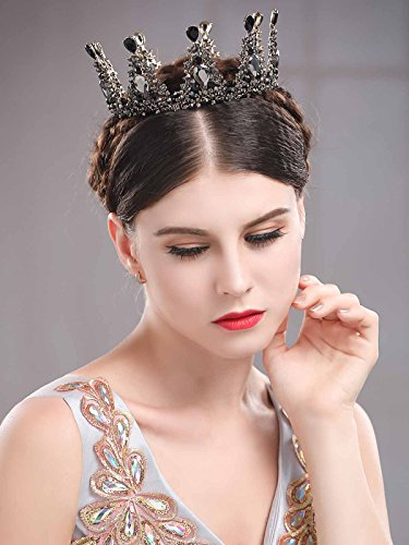 Chicer Baroque Wedding Crown Tiara Queen Princess Vintage Rhinestone Tiara Accessories For Women and Girls(Black). by Chicer (Image #3)