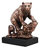 """Ebros Grizzly Bear Mother With Cub On Rock Statue 9.5""""Tall Bronze Electroplated Resin Figurine For Wall Street Stock Market Professionals Wildlife Lovers Home Decor"""