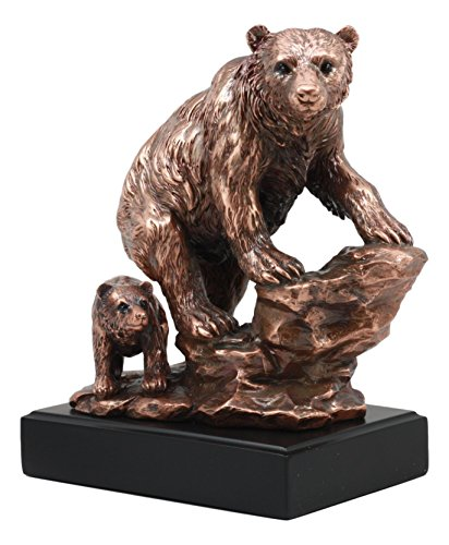 Mother Grizzly Bear - Ebros Grizzly Bear Mother With Cub On Rock Statue 9.5
