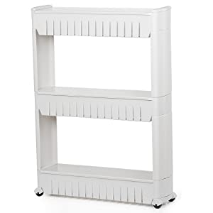 Yaheetech 3 Tier Mobile Shelving Unit Slim Slide-Out Storage Tower Pull Out Pantry Shelves Cart for Kitchen Bathroom Bedroom Laundry Room Narrow Places on Wheels White