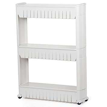 newest collection 5bb4a 0b3d1 Yaheetech 3 Tier Mobile Shelving Unit Slim Slide-Out Storage Tower Pull Out  Pantry Shelves Cart for Kitchen Bathroom Bedroom Laundry Room Narrow ...