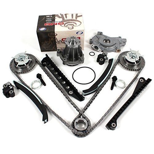 TK3060-VVTWPOP Timing Chain Kit (w/ Updated Tensioner), Camshaft Phasers & Mounting Bolts (L+R) , Water Pump (M30), & Oil Pump (w/ 24mm Inlet) for 04-08 Ford 5.4L (3-Valve) F-150 Lincoln Mark LT