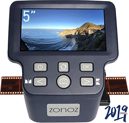 zonoz FS-Four Digital Film & Slide Scanner w/HDMI Output - Converts 35mm, 126, 110, Super 8 & 8mm Film Negatives & Slides to JPEG - Includes Large Bright 5-Inch LCD, Easy-Load Film Inserts Adapters ()