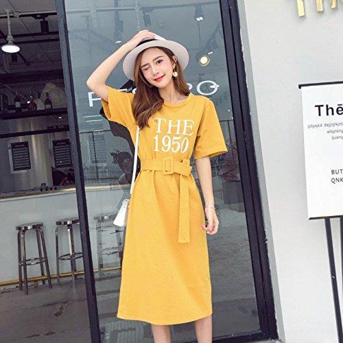 MiGMV?Robe Courte Manches Courtes T-Shirt, Jupe, Grande Taille, Longue Robe au Genou,S,Yellow
